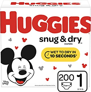 Huggies Snug & Dry Diapers, Size 1 (8-14 lb.), 200 Ct, Giant Pack (Packaging May Vary)