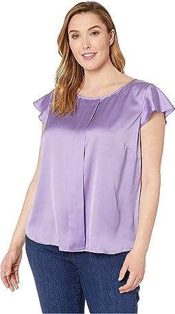 Plus Size Pleat Front Flutter Sleeve Blouse