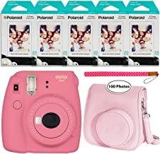 Fujifilm Instax Mini 9 Instant Camera (Flamingo Pink), Groovy Case and 5X Twin Pack Instant Film (100 Sheets) Bundle