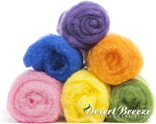 Teton Collection, 6 Colors, 1 Ounce Each of Maori Wool - A Special Blend of New Zealand Wools by DHG for Needle Felting and Wet Felting, Carded Wool Batts, 100% Pure Wool