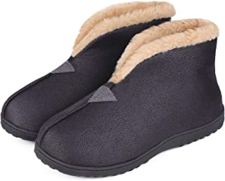 MERRIMAC Men's Comfy Faux Leather Boot Slippers Memory Foam Fuzzy Plush Indoor Outdoor House Shoes w/Foldable Collar