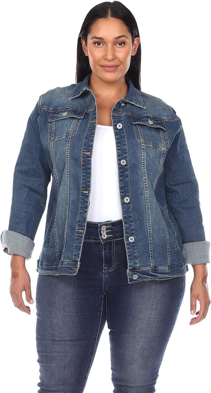 White Mark Women's Plus Size Classic Denim Jacket