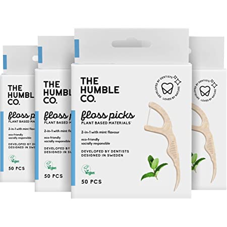 The Humble Co. Natural Dental Floss Picks (200 Count) - Vegan, Eco Friendly, Sustainable Dental Flossers and Zero Waste Plaque Remover for Oral Care with a Fresh Feel (Mint, Single Thread)