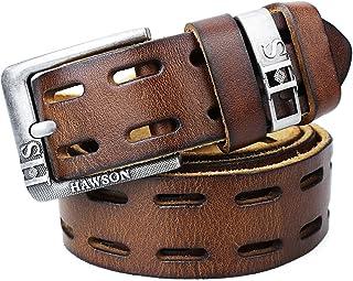 حزام جلد طبيعي محبب بالكامل للرجال مع إبزيم دبوس - 3.3 سم و 3.8 سم 3 ألوان أحزمة للرجال مع صندوق هدايا أسود