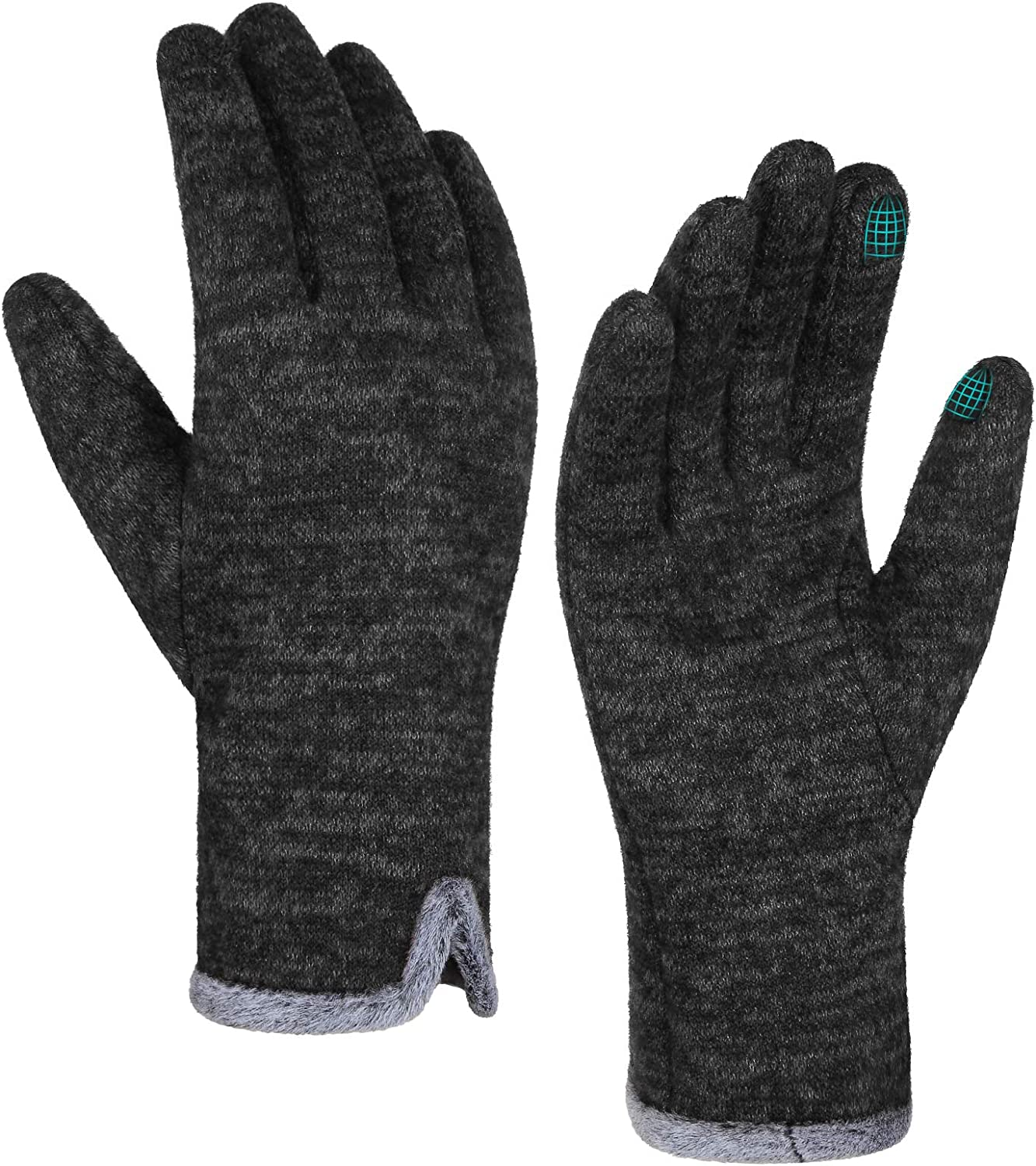 Achiou Gloves for Women Winter Touchscreen Warm Soft Comfortable Elastic Fluff Lined Texting Glove for Traveling, Working