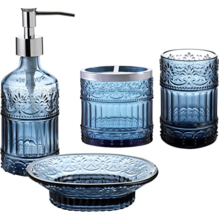 Amazon Com Whole Housewares Bathroom Accessories Set 4 Piece Bath Accessory Completes With Soap Lotion Dispenser Toothbrush Holder Tumbler Soap Holder Blue Home Kitchen