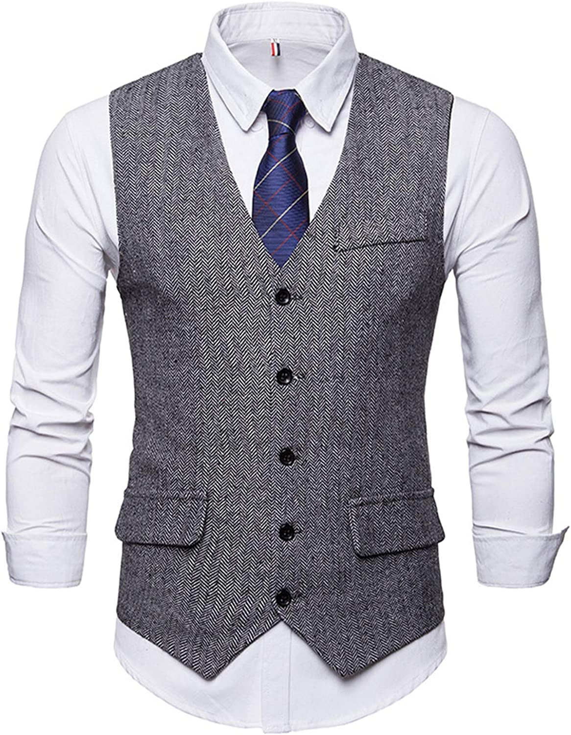 CNBPLS Mens Formal Business Vest for Suit,Men's Herringbone Single-Breasted Vests,Solid Color Sleeveless Slim Fit Waistcoat,Black and White,S