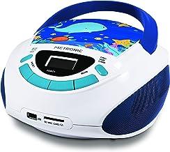 Metronic 477170Radio y Reproductor de CD portátil con Toma USB/SD, Radio FM, 3W, con Salida Jack 3.5mm, Entrada Line IN Ocean, Blanco/Azul