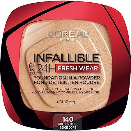 L'Oreal Paris Infallible Fresh Wear Foundation in a Powder, 140 Golden Beige, 0.31 Fl Oz