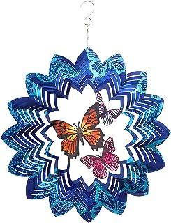 ABXKZ Wind Spinners Outdoor Metal Large Decor,3D Monarch Butterfly Garden Yard Hanging,12in Blue Wind Catcher Patio Art Or...