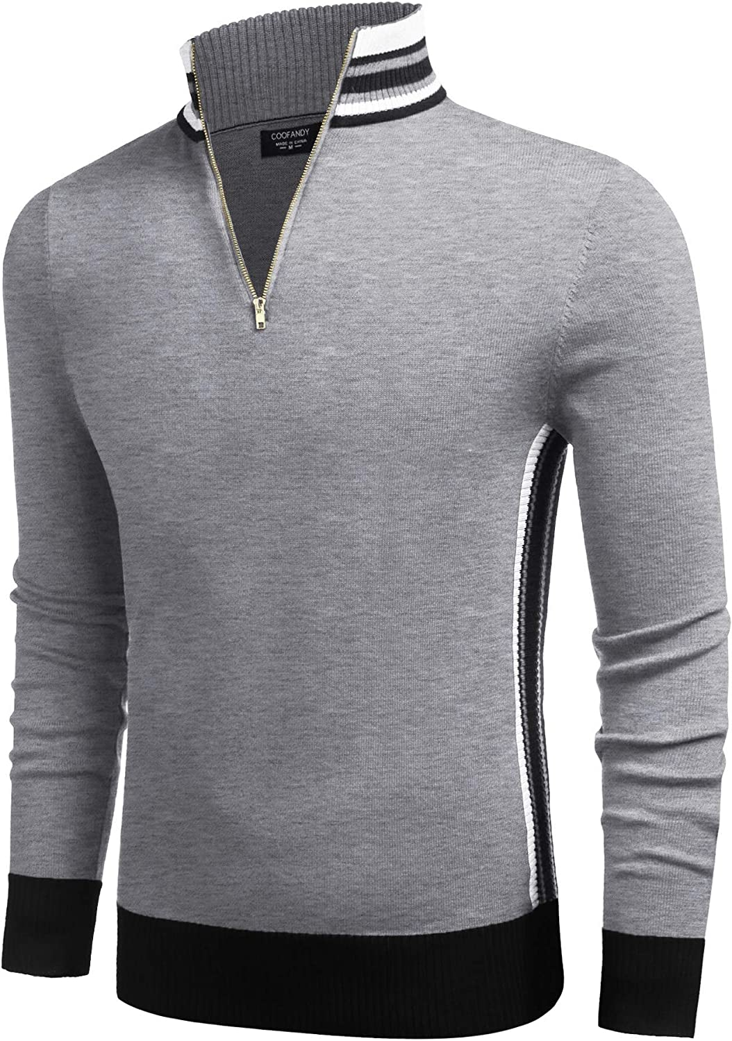 Rare COOFANDY Men's Quarter Special price for a limited time Zip Pullover Sweater Fit Slim Stri Casual