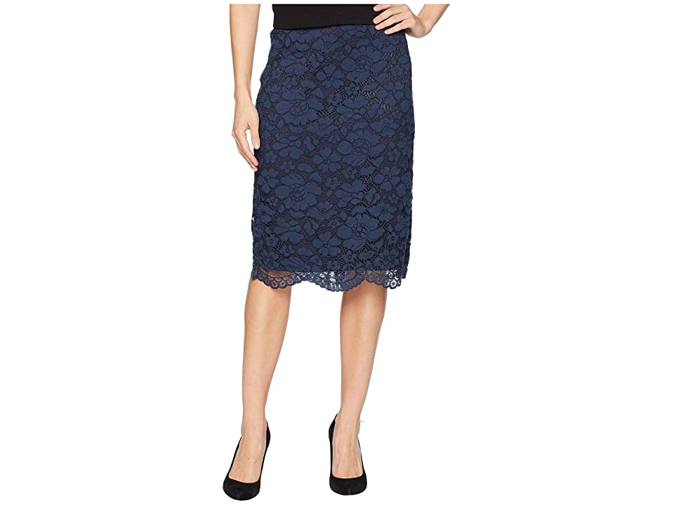 eci Floral Lace Pencil Skirt (Navy) Women