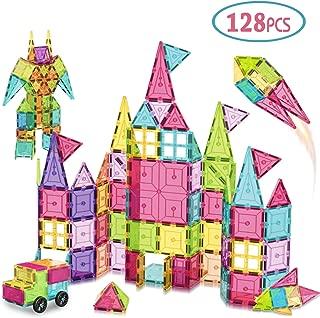 AOKESI Magnetic Toys 128 Pcs Magnet Building Tiles, 3D Magnetic Building Blocks Set, Magnetic Tiles STEM Preschool Educational Construction Kit for Boys Girls Kids Children Age 3, 4, 5 +Year Old