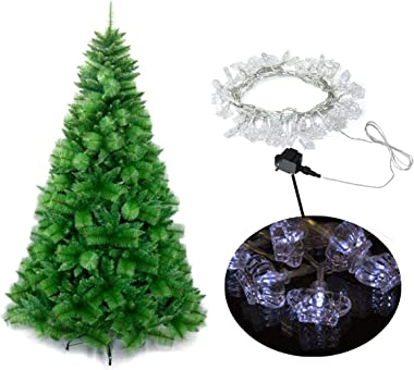 ALEKO CTB022 Holiday Décor Bundle - Traditional Artificial Indoor Christmas Tree and 50 LED Soft White Crown Lights - 9 Foot/