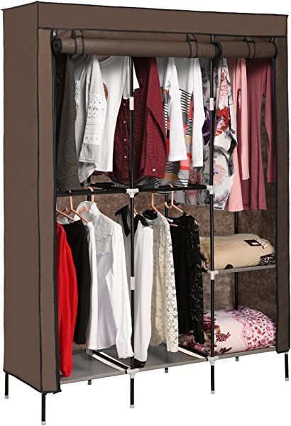 Korie Portable Clothes Closet Wardrobe Storage Double Rod Freestanding Closet With Non Woven Fabric Quick And Easy To Assemble US Stock Coffee