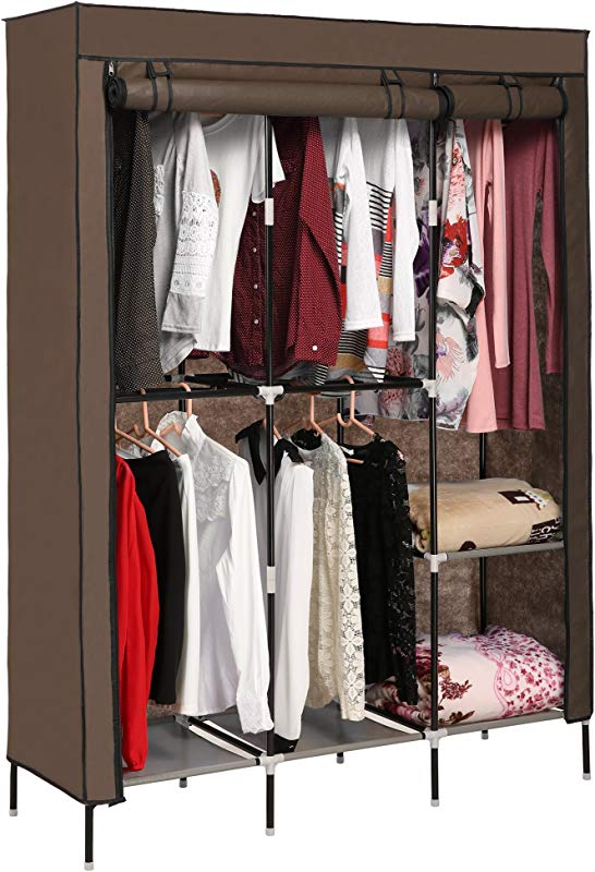 Korie Clothes Closet Portable Wardrobe Closet Organizer Storage Double Rod Closet US Stock Coffee