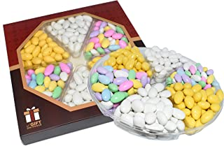 Assorted Jordan Almonds, White Jordan Almonds, Lemon Creme Almonds Premium Variety Gift Tray, 2 Lbs