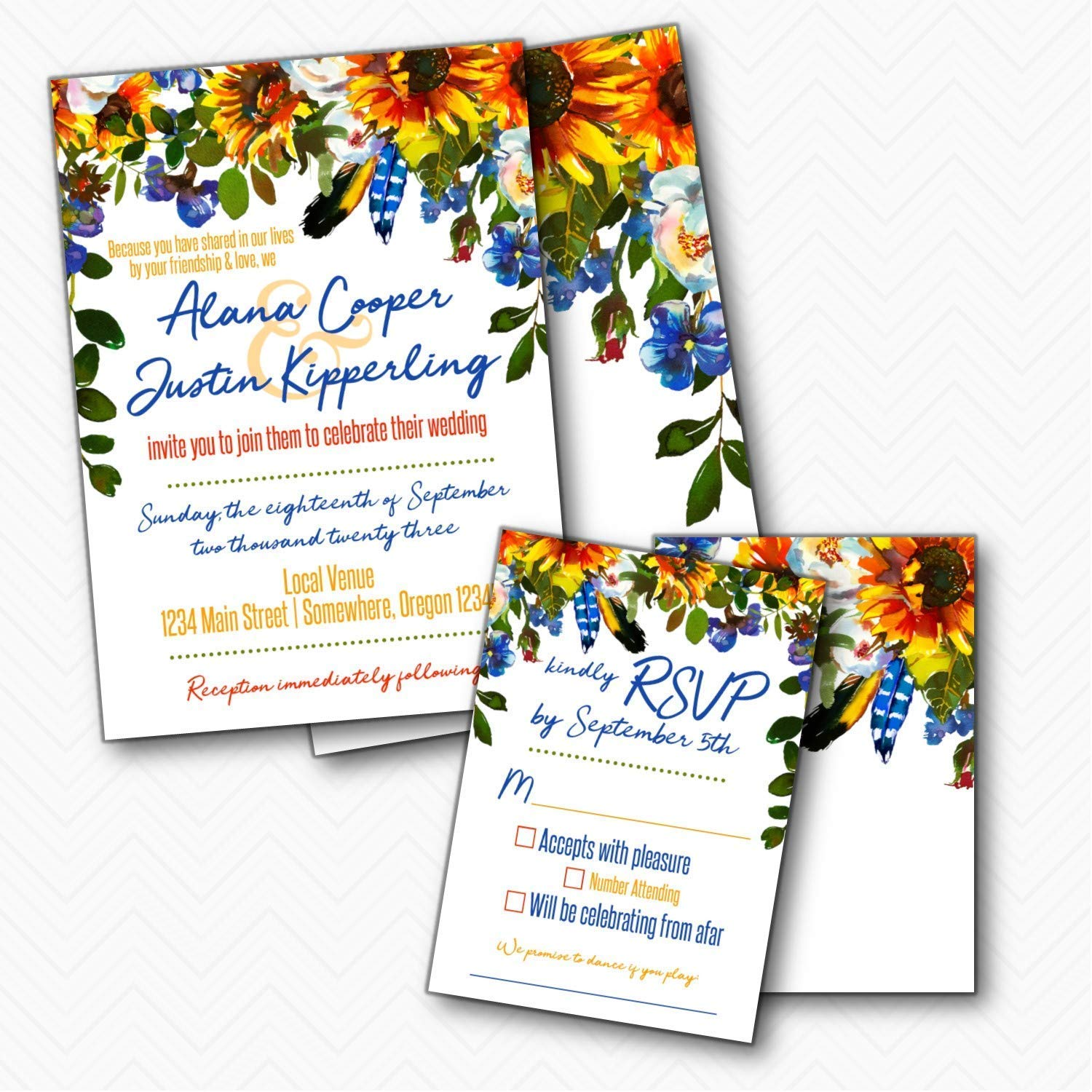 Boho Feather Fall Sunflower Wedding RSVP Limited price set wit Invitation with favorite