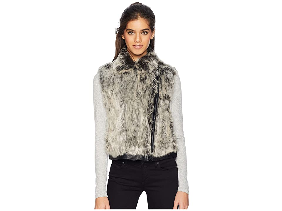 Cupcakes and Cashmere Alonso Moto Faux Fur Vest (Natural Grey) Women