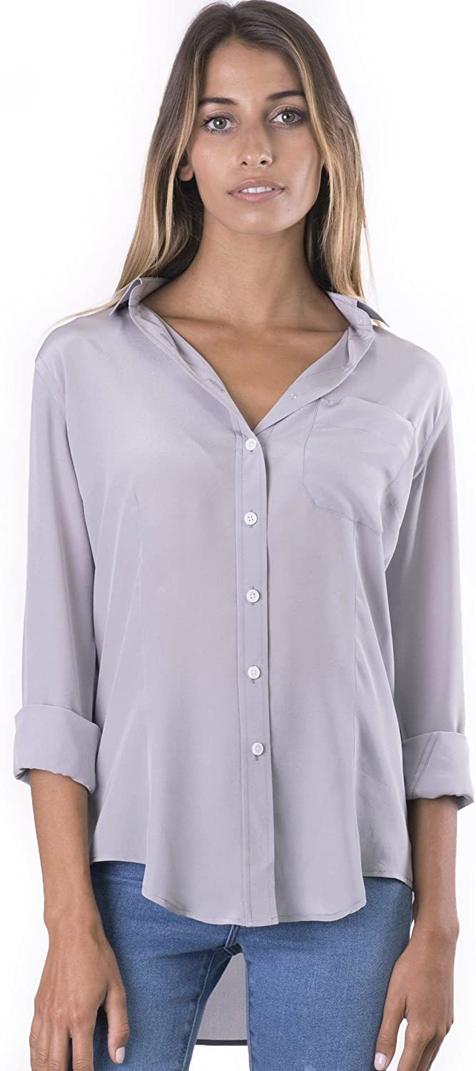 CAMIXA Womens 100% Silk Blouse Long Sleeve Ladies Shirts Slimfit Button Up Pure