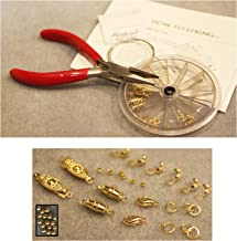 Necklace Bracelet Bead Stringing/Repair Starter Kit Goldtone Beading Kit - Clasps crimps Wire Cord.