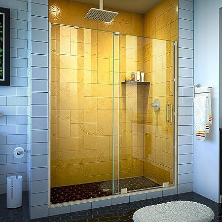 Dreamline Unidoor 53 54 In W X 72 In H Frameless Hinged Shower Door With Shelves In Chrome Shdr 20537210s 01