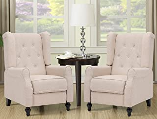 OQQOEE Wingback Recliner Chair 2 Pcs Fabric Push Back Accent Chairs Diamond Tufted Reclining Armchair with Adjustable Back...