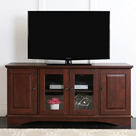Amazon Com Leick 50 Inch Wide Tv Stand With Black Glass Chocolate Cherry Furniture Decor