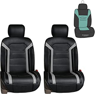 FH Group PU208102 Futuristic Leather Seat Cushions (Gray) Front Set with Gift – Universal Fit for Cars Trucks & SUVs