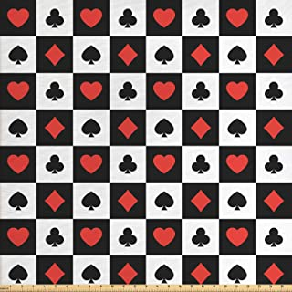Lunarable Poker Fabric by The Yard, Illustration of Poker Card Suits in Checkered Squares Spades Hearts and Clubs, Decorative Fabric for Upholstery and Home Accents, 1 Yard, Red Black