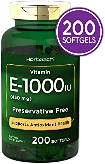 Horbaach Vitamin E 1000 IU 200 Softgel Capsules   Non-GMO, Gluten Free, Preservative Free
