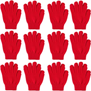 Cooraby 12 Pairs Kid's Winter Magic Gloves Children Stretchy Warm Magic Gloves Boys or Girls Knit Gloves (Red)