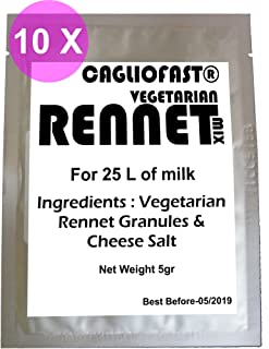 10 X CAGLIO FAST Granules Mix 5g Pack Vegetarian Rennet & cheese salt mix For 25 L Milk …