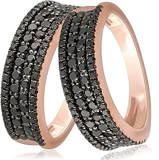 Clearance 1.02Ct Black Diamond Four Row Wedding Band, 10k Rose Gold, Size 7