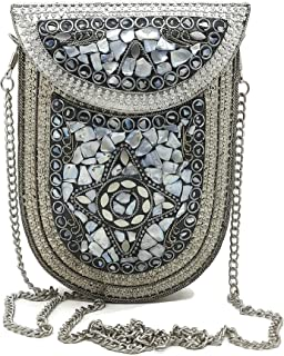 Trend Overseas Ethnic Indian Metal clutches for Women/Girls Bridal party sling bag