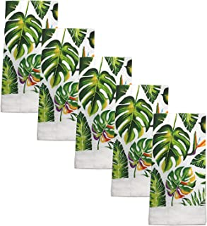 Kitchen Collection 5-Piece Kitchen Towel Set, Decorate Your Kitchen In Style, A Must In Every Kitchen, Absorbent And Durable for Wiping Down Countertops Or Dusting, Beautiful Design (Green Leaves)