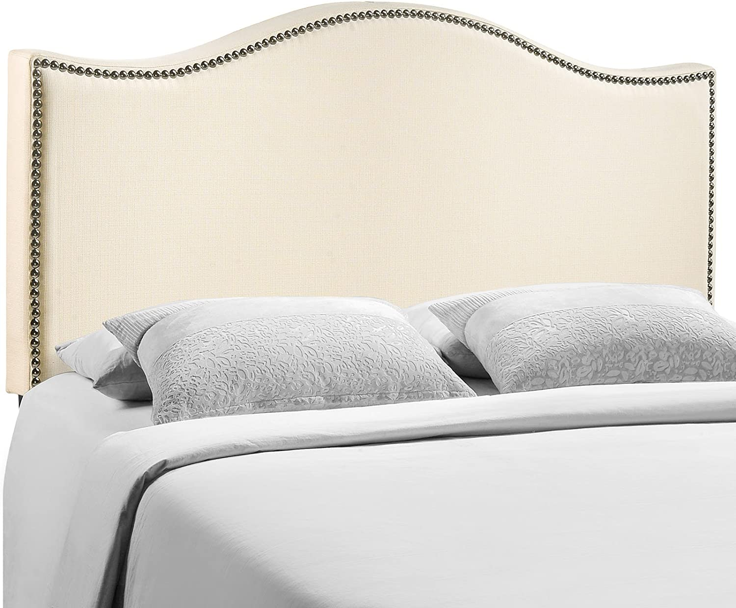 Modway Curl Nailhead Upholstered Headboard, Queen, Ivory