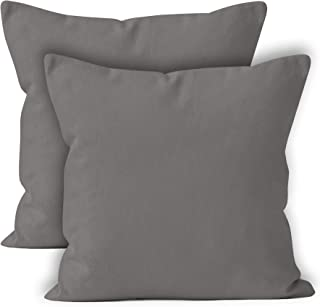 Encasa Homes Throw Cushion Cover 2pc Set - Grey - 20 x 20 inch Solid Dyed Cotton Canvas Square Accent Decorative Pillow Case for Couch Sofa Chair Bed & Home