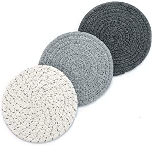 Boho Braided Placemats, Woven Trivet Modern Coasters, Hot Pads Pots and Pans Holders, 7 Inch Heat Resistant Dish Coaster Potholders for Farmhouse Kitchen Thick Mat Set for Cooking and Baking (3 Pac)