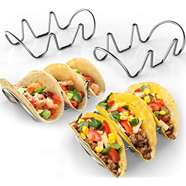 Premium Taco Holders - 4 Pack Stainless Steel Taco Stands - Holds 12 Tacos - Fits Most Plates - Oven & Dishwasher Safe - Stackable Trays - Racks Hold Hard Shell Tacos