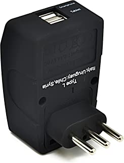 Ceptics UAE to Italy Travel Plug Adapter (Type L) - 4 in 1-2 USB Ports - Charge your Cell Phones, Laptops, Tablets - Groun...