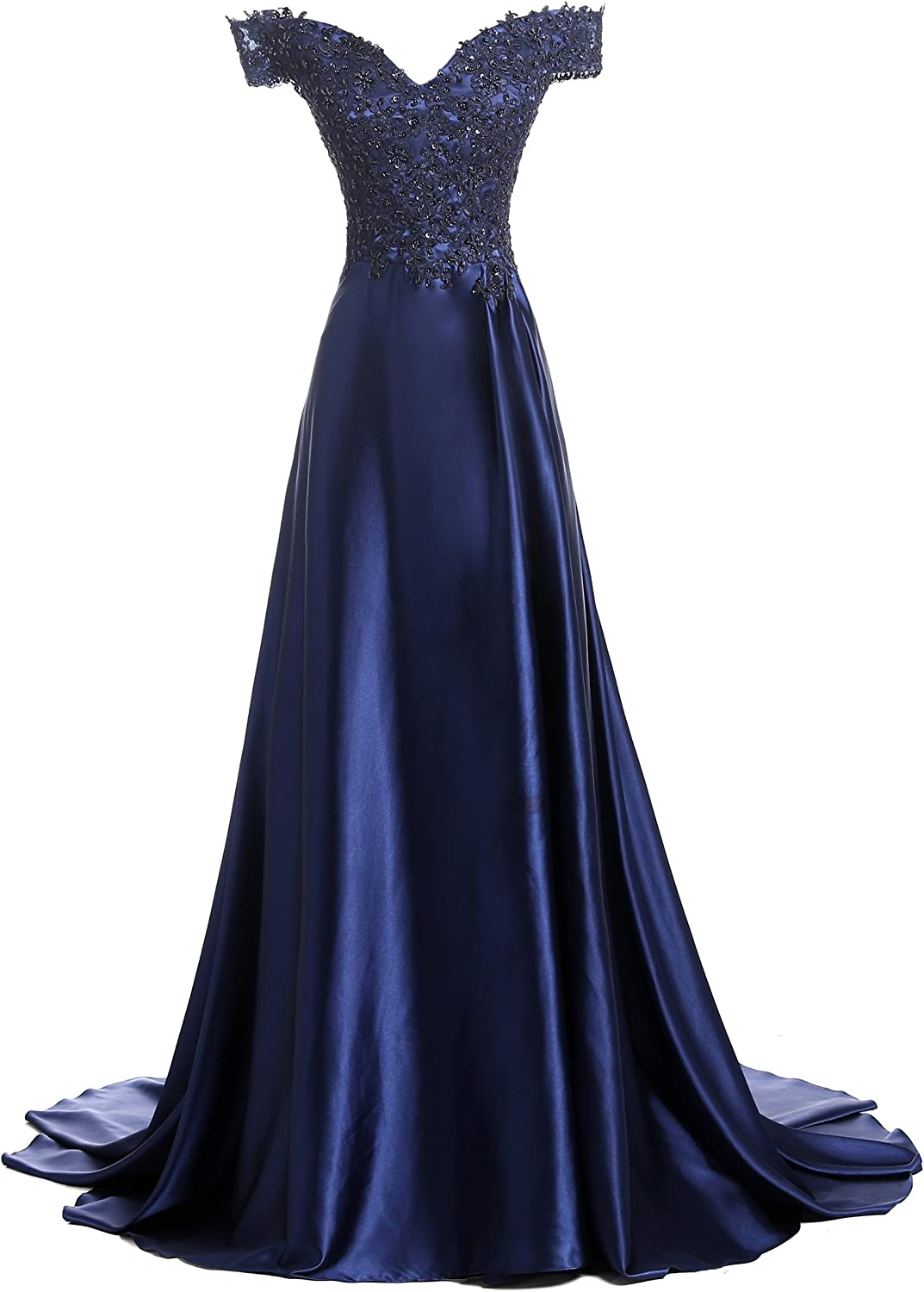 Alexzendra Double V Neck Off The Shoulder Evening Dress Long Prom Gown Navy bluee