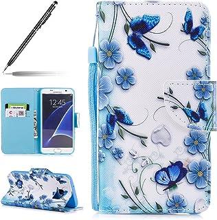 5a1ff857b68 Uposao para Funda Samsung Galaxy S7 Piel PU Cuero Libro Billetera Tapa  Libro Flip Cover Funda