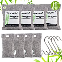 Nuo Lun Air Purifying Bags 8 Pack (200g x 4,50g x 4) & 4 Hooks,Activated Bamboo Charcoal Purifer,Air Freshener Odor Absorbe for Home,Car,Pets,Closet,Shoes,Gym Bag Shoe Deodorizer.