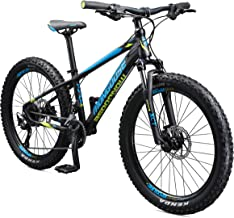 Mongoose Tyax Kids Mountain Bike with 24-Inch Wheels in Black, Aluminum Hardtail Frame, 9-Speed Drivetrain, and Hydraulic Disc Brakes