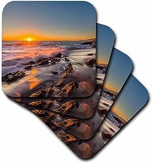 3dRose CST_206049_2 Sunset at Victoria Beach in Laguna Beach, Ca Soft Coasters, (Set of 8)
