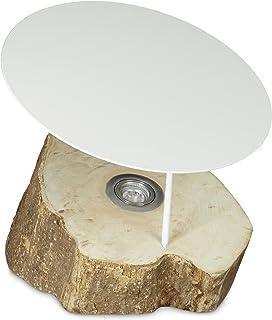 Relaxdays 10020063_112 Lampe à poser au sol lampe sur pied en bois avec LED intégrée décoration tronc d'arbre spot 40 x 40...