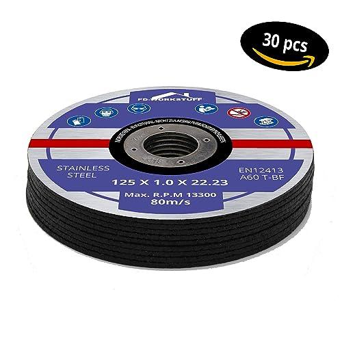 30Discos de corte, Diámetro de 125x 1,0mm para amoladora angular, Acero Inoxidable, disco flexible, metal