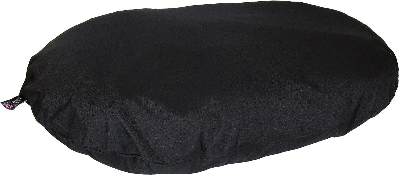 P & L Superior Pet Beds Heavy Duty Waterproof Oval Cushion, Large, 110 x 76 x 15 cm, Black