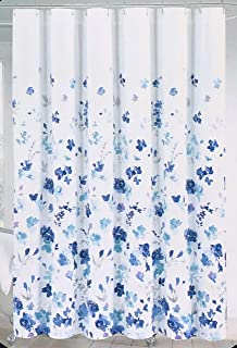 Cynthia Rowley Fabric Shower Curtain Floating Floral Blooms Pattern in Shades of Blue Turquoise Purple Gray on White - Emelia Floral